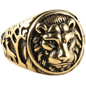 Gold Plated Lion Head Thick Ring Unisex